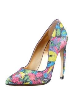 Sequin Pump With Bowed Heel by Walter Steiger at Bergdorf Goodman.   Lovely way to add the in-style floral prints to anything you already have for the season.