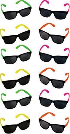 Eye-catching party favors designed to let the good times roll. This collection of #novelty sunglasses features a variety of bright neon colors on the hinges and ...