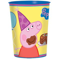 Give your guest a little something to take home to remember the party with this Peppa Pig Favor Cup. This cup features Peppa holding a balloon with a chocolate cake in her hand and a purple party hat
