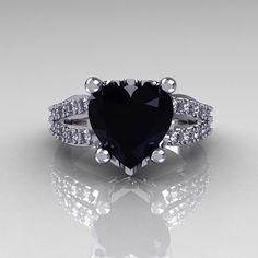 Modern Vintage 18K White Gold 3.0 Carat Heart Black and White Diamond Solitaire Ring R134-18KWGDBD. $1,449.00, via Etsy.