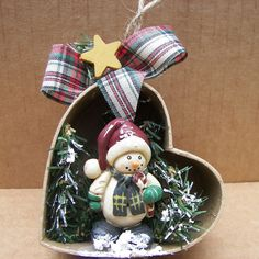 Christmas Ornament Snowman in Tilted Heart Ornament
