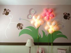Leaves painted on wall with ikea flower light tree skirt girls butterfly ladybug bedroom wall mural diy im not a painter but this was aloadofball Images