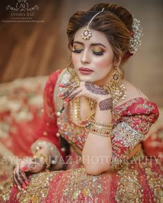 Image may contain: one or more people Pakistani Bridal Hairstyles, Pakistani Bridal Makeup, Asian Bridal Makeup, Bridal Makeup Looks, Pakistani Bridal Dresses, Bridal Hair And Makeup, Bridal Looks, Pakistani Suits, Fresh Wedding Makeup