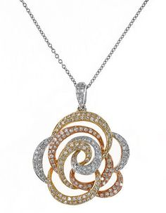 Effy Diamond, 14K White, Yellow And Rose Gold Flower Pendant Necklace, 0.68 TCW on shopstyle.com
