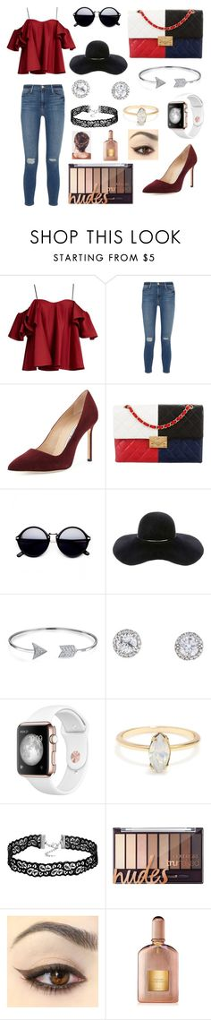 """""""France w/ Liza Koshy"""" by infinitelybeautiful ❤ liked on Polyvore featuring Anna October, Frame Denim, Manolo Blahnik, Chanel, Eugenia Kim, Bling Jewelry and Tom Ford"""