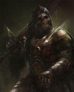 Undead Warrior by Pavel Gorovoy High Fantasy, Dark Fantasy Art, Dark Art, The Elder Scrolls, Fantasy Monster, Monster Art, Fantasy Armor, Medieval Fantasy, Character Portraits