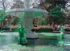 St. Patrick's Day Celebrations in Savannah: Greening of the Fountain at Forsyth Park