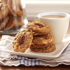Coconut Oat Cookies Recipe -These chewy cookies have been a family favorite for years. The pecans provide a crunchy contrast to go along with all that chewy goodness! Oat Cookie Recipe, Oat Cookies, Coconut Cookies, Yummy Cookies, Cookie Recipes, Cookie Crumbs, Coconut Recipes, Cookie Desserts, Desert Recipes