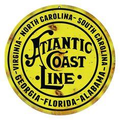 "Atlantic Coast Line Route Railway Sign, 14"" Aluminum Metal Sign, USA Made Vintage Style Retro Home Decor Garage Art RG6276 by HomeDecorGarageArt on Etsy"