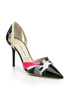 Jimmy Choo - Marcine Patent Leather & Printed Leather Pumps