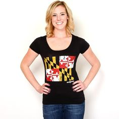 Maryland Flag (Black) / Ladies Scoop Neck Shirt #Maryland #Shirts-:-All #Shirts-:-Ladies