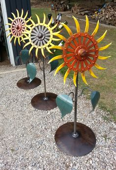 Hand painted sunflowers for sale@ Southpaw Metal Art Studio.