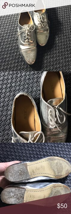 """Shiny silver brogues J.crew silver brogues, affectionately called my """"tin man shoes."""" I wish I had more opportunities to wear these! J. Crew Shoes Flats & Loafers"""