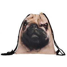 Trendy Pug Face Drawstring Backpack