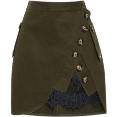 Self Portrait Lace-Paneled Mini Skirt