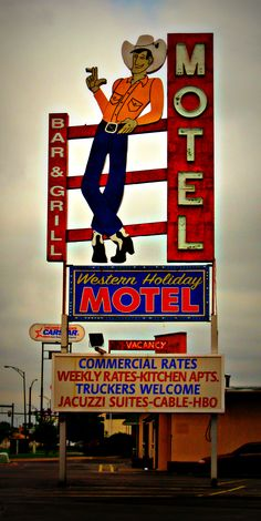 Midnight Cowboy - Jon Lander - copyright 2013 - semi-old motel sign, Wichita, KS, Western Holiday Motel. A bar, truckers, cowboys, jacuzzis? What could go wrong?