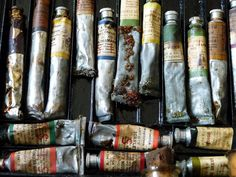 "More on ""pigments that have mostly gone out of favor"" from hyperallergic.com. Note that these pigments aren't all gone! Ivory black or bone black is still quite common, for instance. (Bonus: What a nice image of vintage paint tubes, photograph by Jody Morris/Flickr user)"