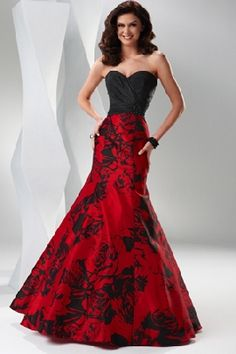 black and red mermaid style prom dress