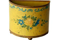 Italian Tole Container - hand-painted  Use as letter holder, planter etc. circa 1910-1950  $150