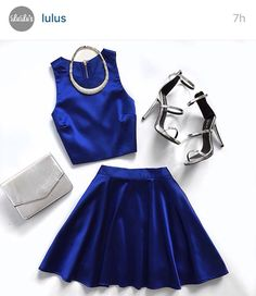 Start your day (and night!) off right with the Set for Success Royal Blue Two-Piece Dress! Luxe satin two-piece dress has a crop top and skater skirt. Estilo Lady Like, Cute Dresses, Cute Outfits, Fashion Outfits, Womens Fashion, Fashion Trends, Skirt Fashion, Style Fashion, Two Piece Dress