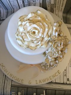 Ivory and gold vintage rose anniversary cake #ivory #gold #rose #cake #anniversary #wedding #vintage #danielleshomemadecakes #pretty