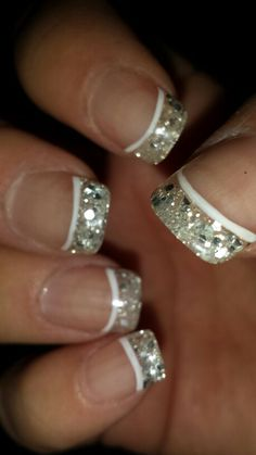 Bling french tip nails Glitter French Tips, Glitter French Manicure, French Manicure Designs, Sparkle Nails, French Tip Nails, Bling Nails, Glitter Nails, Silver Glitter, Shellac Nails