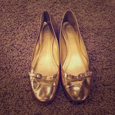 J. Crew Liv Metallic Gold Flats These look amazing, *almost* new except for tiny scuffing as noted in fourth pic. Classic and versatile, gold with little buckles. Made in Italy. Leather upper. J. Crew Shoes Flats & Loafers