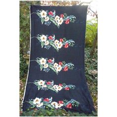 Hibiscus and Tropical Leaves Trendtex Hawaiian Decorator Fabric  Dramatic ornamental pattern of horizontal rows of large flowers and leaves in yellow,