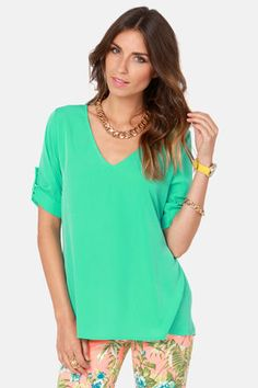 Cute Mint Green Top - Short Sleeve Top - V-Neck Top - $36.00