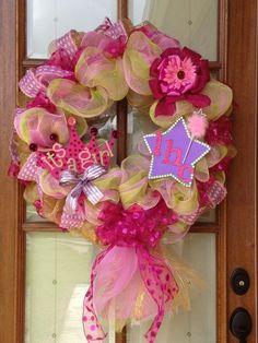 super cute baby shower or birth announcement wreath. $85.00, via Etsy.