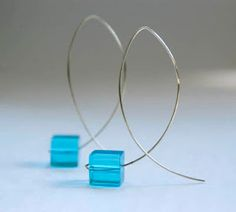 TonyaUtkina: Minimalist blue aquamarine fish earrings