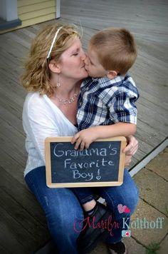 Grandma grandson photo idea. Chalkboard kiss.