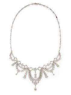 White Gold & Diamond Bow Motif Bib Necklace by Tara Compton at Gilt