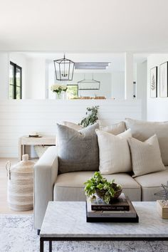 Currently Craving: Warm & Minimal Living Room natural living room // gray and beige living room // marble coffee table // shiplap walls – Mobilier de Salon Beige Living Rooms, Cozy Living Rooms, Formal Living Rooms, Living Room Modern, My Living Room, Living Room Interior, Living Room Furniture, Minimal Living, Small Living
