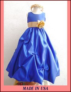 New Royal Blue Gold Sash Bridesmaid Flower Girl Party Bridal Easter Dancing Dress | eBay