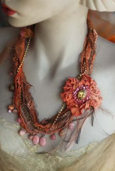 shabby chic soft braided necklace from antique by FleursBoheme