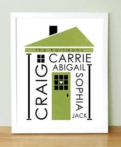 Personalized  Family Name Custom Color Art Print 8x10 by UUPP, $30.00  etsy.com  UUPP