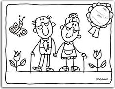kleurplaat opa en oma Renewal of THE VOWs Art Drawings For Kids, Drawing For Kids, Colouring Pages, Coloring Books, Stick Family, Grands Parents, Doodle Designs, Grandparents Day, Stick Figures
