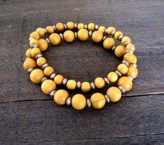 Wood Stacking Bracelet Wood Bracelet Wood Stretch Bracelet Boho Jewelry Boho Bracelet Earthy Jewelry Yoga Bracelet Natural Wood  Sale