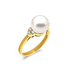 Δαχτυλίδι με μαργαριτάρι και διαμάντια σε χρυσό Κ18 - G319306 Ένα  φανταστικό δαχτυλίδι από 18 καράτια 00ad604478a