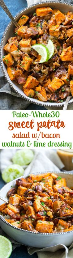 This roasted sweet potato salad is packed with crispy bacon, toasted walnuts, and tossed in a date-sweetened lime vinaigrette. Paleo and friendly, dairy free and easy to make, it's the perfect (Sweet Potato Recipes) Salad With Sweet Potato, Sweet Potato Recipes, Potato Salad, Chicken Recipes, Keto Chicken, Paleo Side Dishes, Side Dish Recipes, Bacon Dishes, Paleo Recipes