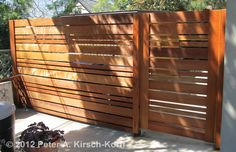 Horizontal Urban Style Fence     Altadena, California 2012  All Clear Redwood construction  40 feet by 6 feet Custom Fence: $60 - $80 per foot