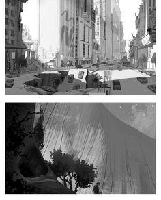 Cenários do seriado Sym-Bionic Titan, da Cartoon Concept Art Landscape, Landscape Drawings, Landscape Paintings, Sketch Background, Animation Background, Environment Sketch, Environment Design, Sym Bionic Titan, Cartoon Network