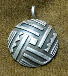 Sterling Silver Geometric Design Round Pendant by ShadowTrading