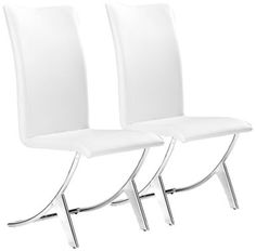 Zuo Delfin White Leatherette 39-Inch-H Set of Two Chairs - Euro Style Lighting