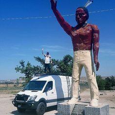 "@radtech_roaddog in Bakersfield saying ""Howdy"" atop his Sprinter van with Aluminess gear . #aluminess #roofrack #ladder #lightbar #sprinterlife #sprinterconversion #sprinter #adventurevan #adventuremobile #vanlife"