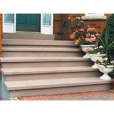 Get a beauty to your living space by applying this SpreadRock Granite Stone Coating Brownstone Satin Interior or Exterior Concrete Resurfacer and Sealer. Painted Concrete Steps, Cement Steps, Concrete Bricks, Concrete Stairs, Concrete Patio, Concrete Floors, Repairing Concrete Steps, Plywood Floors, Concrete Lamp