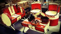 Oil drum furniture..