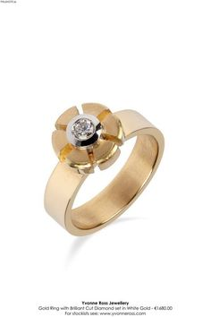 A gold ring with brilliant cut diamond set in white gold by Yvonne Ross. All That Glitters, Fashion News, Heart Ring, Gold Rings, White Gold, Wedding Rings, Seasons, Engagement Rings, Statue