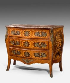 OnlineGalleries.com - Mid 19th Century kingwood marquetry Bombe Commode